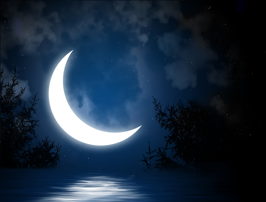 Night fairy tale - bright moon reflected in river